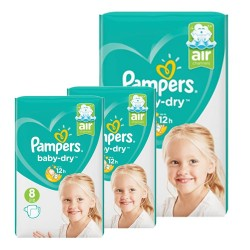Pack 80 Couches Pampers Baby Dry taille 8 sur Choupinet