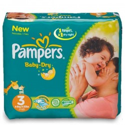 72 Couches Pampers Baby Dry Night taille 3 sur Choupinet