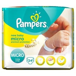 24 Couches Pampers New Baby Micro taille 0 sur Choupinet
