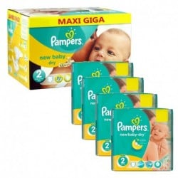Pack jumeaux 720 Couches Pampers New Baby Dry taille 2 sur Choupinet