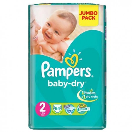 64 Couches Pampers Baby Dry Taille 2 à Bas Prix Sur Choupinet