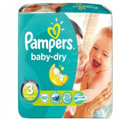 60 Couches Pampers Baby Dry taille 3 sur Choupinet