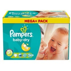 180 Couches Pampers Baby Dry taille 3 sur Choupinet