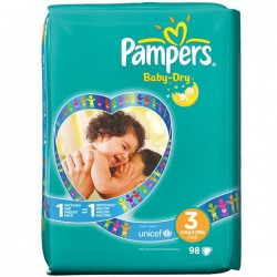 98 Couches Pampers Baby Dry taille 3 sur Choupinet
