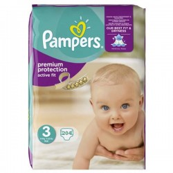 204 Couches Pampers Active Fit taille 3 sur Choupinet
