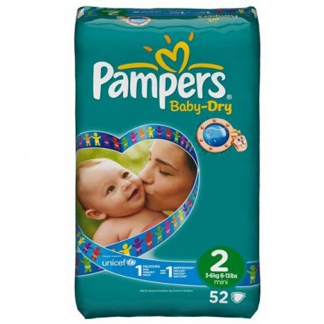 52 Couches pampers baby dry taille 2 pas cher sur choupinet on