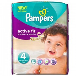52 Couches Pampers Active Fit taille 4 sur Choupinet