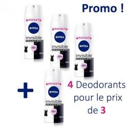 4 Deodorants Nivea Invisible Black and White - 4 au prix de 3 taille Pocket sur Choupinet
