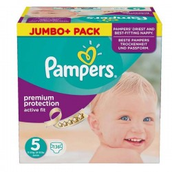 136 Couches Pampers Active Fit taille 5 sur Choupinet