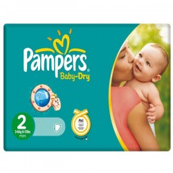 70 Couches Pampers Baby Dry taille 2 sur Choupinet