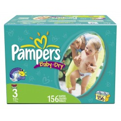 156 Couches Pampers Baby Dry taille 3 sur Choupinet