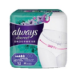 Pack 12 culottes incontinence ALWAYS DISCREET Normal sur Choupinet