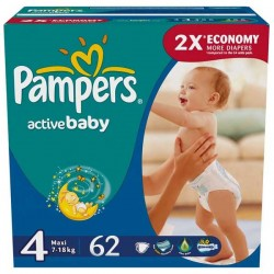 62 Couches Pampers Active Baby taille 4 sur Choupinet