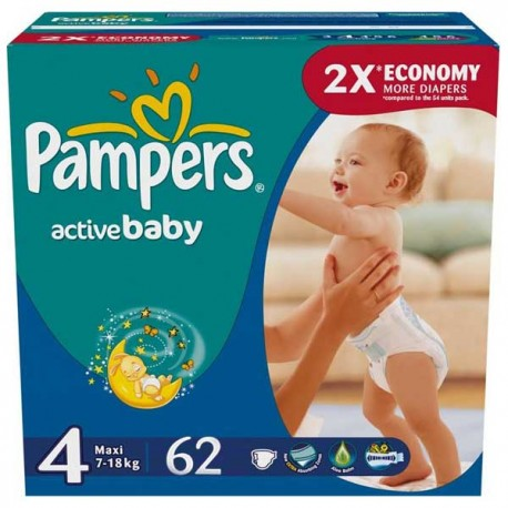 62 Couches Pampers Active Baby Taille 4 A Bas Prix Sur Choupinet