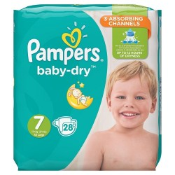 Pack 28 Couches Pampers Baby Dry taille 7 sur Choupinet