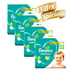 Maxi Giga Pack 308 Couches Pampers Baby Dry taille 7 sur Choupinet
