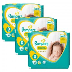 Maxi Giga Pack 72 Couches Pampers New Baby Premium Protection taille 0 sur Choupinet