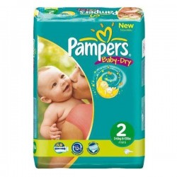 Pack 64 Couches Pampers Baby Dry taille 2 sur Choupinet