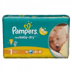 27 Couches Pampers New Baby Dry taille 1 sur Choupinet