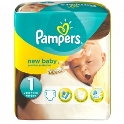 56 Couches Pampers New Baby taille 1 sur Choupinet
