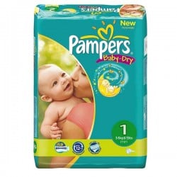 43 Couches Pampers New Baby Dry taille 1 sur Choupinet