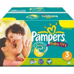 Pack jumeaux 1044 Couches Pampers Baby Dry taille 3 sur Choupinet
