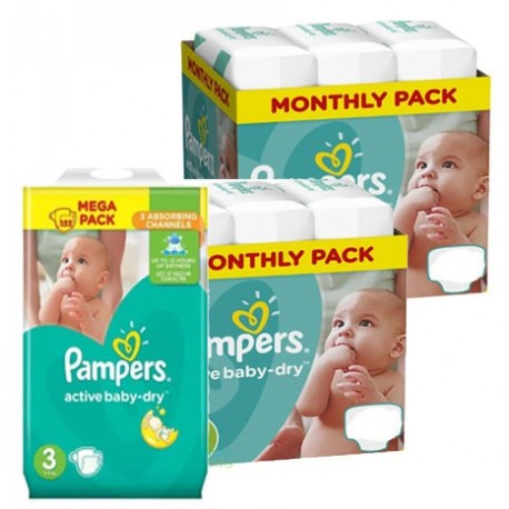 Pack 45 Couches Pampers Active Baby Dry taille 3 sur Choupinet