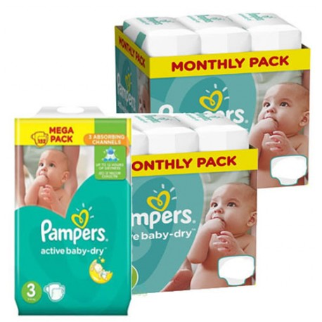 Pack 60 Couches Pampers Active Baby Dry taille 3 sur Choupinet