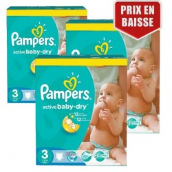 Mega pack 165 Couches Pampers Active Baby Dry taille 3 sur Choupinet