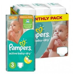 Mega pack 180 Couches Pampers Active Baby Dry taille 3 sur Choupinet