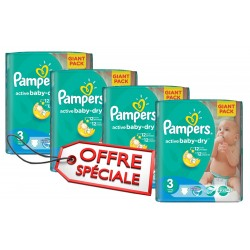 Mega pack 195 Couches Pampers Active Baby Dry taille 3 sur Choupinet