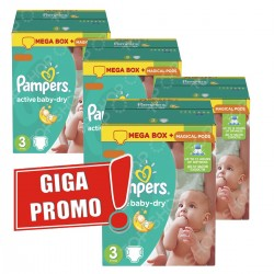 Giga pack 255 Couches Pampers Active Baby Dry taille 3 sur Choupinet