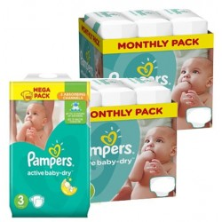 Giga pack 285 Couches Pampers Active Baby Dry taille 3 sur Choupinet