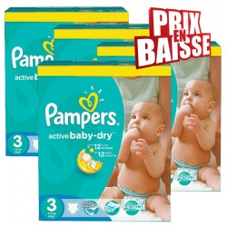 Maxi giga pack 315 Couches Pampers Active Baby Dry taille 3 sur Choupinet