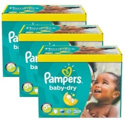 Pack jumeaux 504 Couches Pampers Baby Dry taille 5+ sur Choupinet