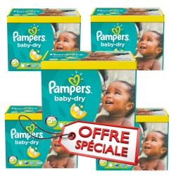 Pack jumeaux 588 Couches Pampers Baby Dry taille 5+ sur Choupinet