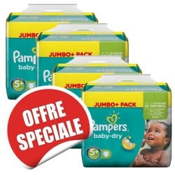 Pack jumeaux 672 Couches Pampers Baby Dry taille 5+ sur Choupinet