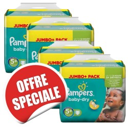 Pack jumeaux 756 Couches Pampers Baby Dry taille 5+ sur Choupinet