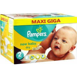 Pack jumeaux 1296 Couches Pampers New Baby Dry taille 2 sur Choupinet