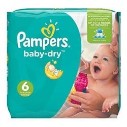 Pack 96 Couches Pampers Baby Dry taille 6 sur Choupinet