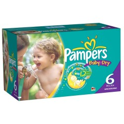 Giga pack 288 Couches Pampers Baby Dry taille 6 sur Choupinet