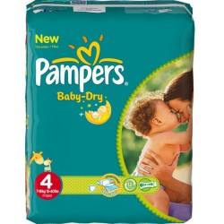 Pack 50 Couches Pampers Baby Dry taille 4 sur Choupinet