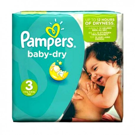 Pack 30 Couches Pampers Baby Dry taille 3 sur Choupinet