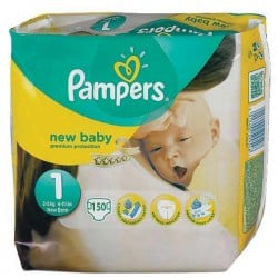 Mega pack 110 Couches Pampers Premium Protection taille 1 sur Choupinet