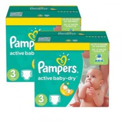 Pack jumeaux 620 Couches Pampers Active Baby Dry taille 3