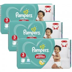 Pack 76 Couches Pampers Baby Dry Pants taille 3
