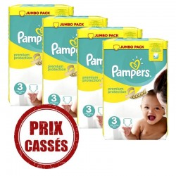 Maxi mega pack 406 Couches Pampers Premium Protection taille 3 sur Choupinet