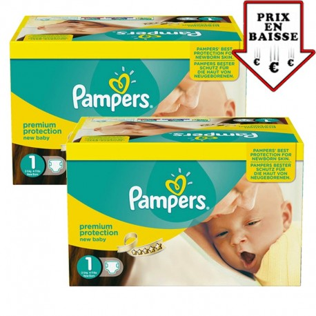 Mega pack 112 Couches Pampers Premium Protection taille 1 sur Choupinet