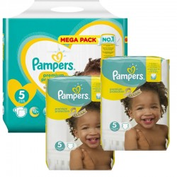 Giga pack 204 Couches Pampers Premium Protection taille 5 sur Choupinet