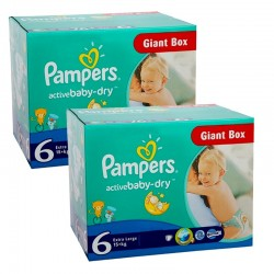 Pack 96 Couches Pampers Active Baby Dry taille 6 sur Choupinet